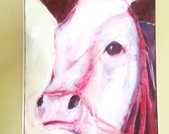 ON SALE 20x16 original cow painting on canvas