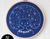 GALAXY GIRL - pdf embroidery pattern, DIY stitching, constellations, night sky, girl with stars in her hair, celestial girl, astrological