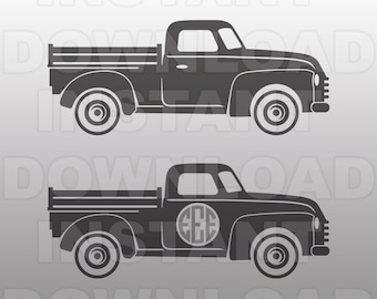 Vintage Antique Old Truck SVG File,Truck Monogram SVG -Commercial & Personal Use- Vector Art Cricut,Silhouette Cameo,Iron On vinyl Shirt