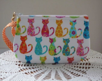 Smart phone Case Gadget Pouch Clutch Wristlet Zipper Gadget Pouch Colorful Cats