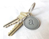 Monogram Keychain - Initial Keychain - Typewriter Font - Vintage Style Letter with Silver Feather - 1 Inch Split Ring - Keychain Etsy Gifts