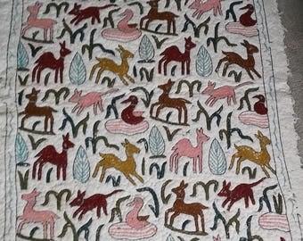 "Handmade Wool Rug with Animal Figures 69 "" x 47"""