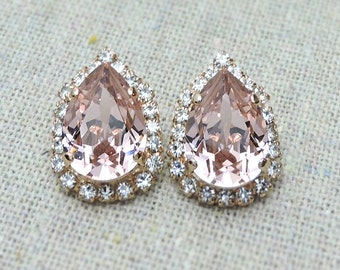 Swarovski Crystal Blush Pink Teardrop Post Earrings Crystal Faux Diamond Pave Halo Rose Gold Bridal Jewelry Wedding Party Gifts