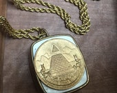 Vintage Music Box Necklace Pyramid and All Seeing Eye The Eye of Providence