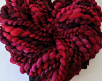 Handspun Art Yarn - Hand Dyed Superwash Merino Wool Yarn - Thick and Thin Yarn - OOAK Yarn - Cinnamon Rose