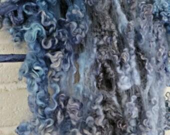 Border Leicester Wool Curls - Hand Dyed Fleece - Blue and Gray Locks - Fiber Art Supplies - Misty Mountain