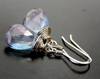 Blue Teardrop Earrings, Mystic Quartz Drop Earrings, Sterling Silver Wire Wrapped Briolettes