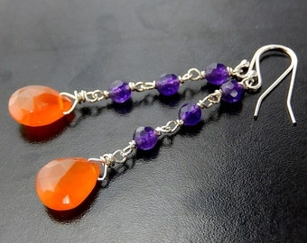 Orange, Purple Earrings, Carnelian and Jade Drops, Sterling Silver Gemstone Earrings