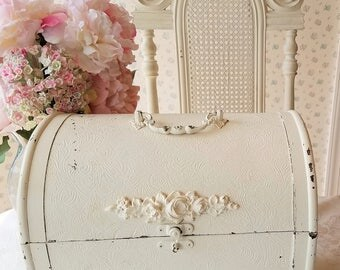 SHABBY Vintage Embossed Trunk - Carved Roses, Distressed Soft White, Storage, Sewing Box