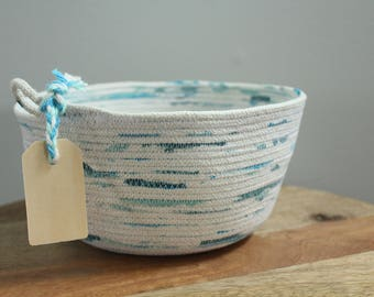 Basket rope coil natural thread painted mint teal bin storage organizer bowl wooden tag by PETUNIAS
