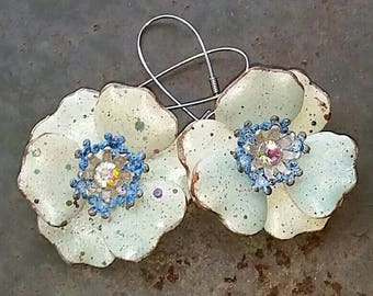 Light Patina Green Floral Earrings from Wendy Baker