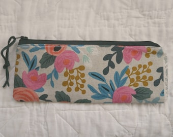 painterly linen pencil case