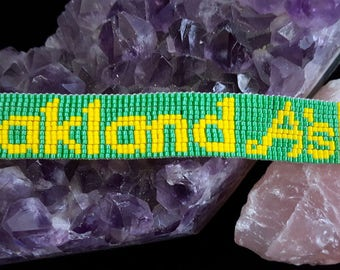 Oakland A's bead-woven bracelet