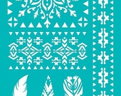 "Stencil Stencils Templates ""Tribal, Arrows, Feather"", self-adhesive, flexible, for polymer clay, fabric, wood, glass, card making"
