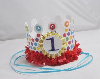 Rainbow 1st Birthday Crown- Baby Girl- Candyland Party