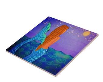 Beautiful Abstract Digital Mermaid Painting Printed on Ceramic Tile