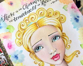 Jane Austen Quote / Emma / There is no Charm Equal to Tenderness of Heart/ Watercolor Fine Art Print