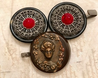 SALE 3 Vintage Buckle Piece Lot Red Rhinestone Filigree GIBSON Girl Accessories Remake Pendant Upcycle Jewelry SUPPLIES Curiosity Cabinet