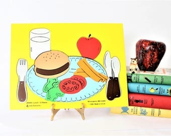 Vintage Wood Colorful Lunch Time Wooden Food Puzzle by Judy Instructo, Vintage Preschool, Homeschool Puzzles, vintage wooden puzzle
