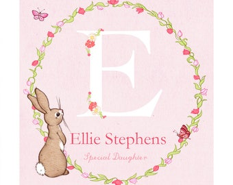 Personalised Initial Boo & The Butterflies, pink bunny name print