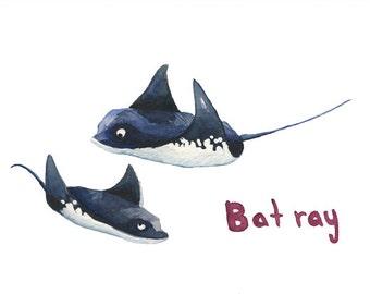 Bat ray greeting card, A6, watercolor, print, ocean art, nautical, holiday, gift, science, sea, ocean