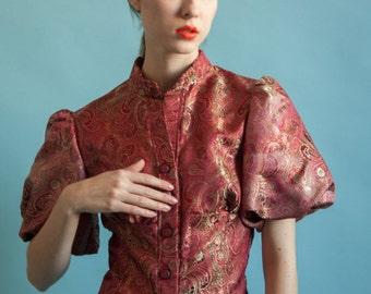 paisley brocade blouse / puff balloon sleeve blouse / ornate blouse / s / 1891t / B18