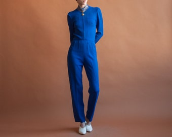 royal blue ST JOHN knit jumpsuit / blue zip up sleek jumpsuit / fitted catsuit / s / R2