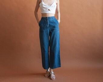 RALPH LAUREN wide leg jeans / vtg wide leg denim / sailor pants / w 28 / 6 / 2372t / B10