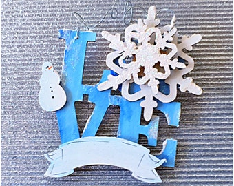 Personalize Snowflake Holiday Ornament. Glittery Frosty Winter LOVE. Vintage personalized ornament. Cottage winter decor. Valentines gift.