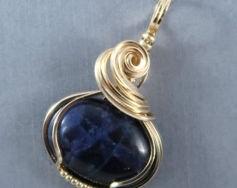 Dark Blue Sodalite and 14k Gold Filled Wire Wrapped Pendant Gemstone Cabochon