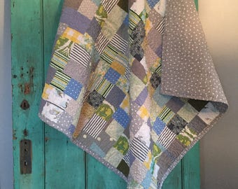 farmhouse baby quilt - green gray blue yellow