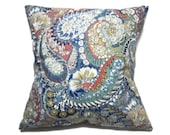 Decorative Pillow Cover Paisley Print Same Fabric Front/Back Blue White Coral Gold Same Fabric Front/Back Toss Throw Accent 18x18 inch  x