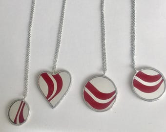 Red Mirror Swoopy striped pendants by Glass Action