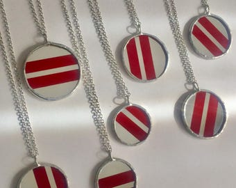 Red Mirror Big Stripe Croquet Ball upcycled pendants by Glass Action