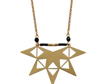 Gold and black star necklace