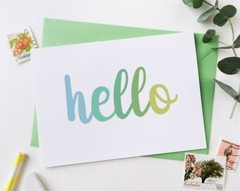Hello Card - Green – Blank Card - Typography Card – Notecard – Special Message Note Card – Greetings Card – Welcome Card