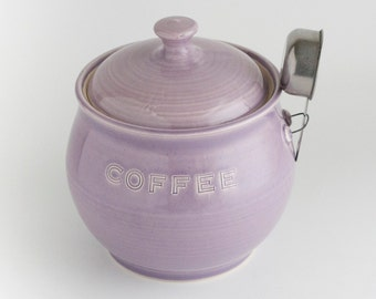 READY TO SHIP - Coffee Jar with scoop - Purple