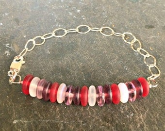 Layering Bracelet Sterling Silver and Glass Etched Abacus Beads Gift for Her Aubergine and Ruby Red On Sale