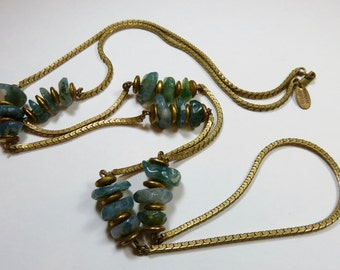 SJK Vintage -- Miriam Haskell Signed Gold Tone / Brass Long Necklace With Jade Stone Nuggets (1960's-70's)
