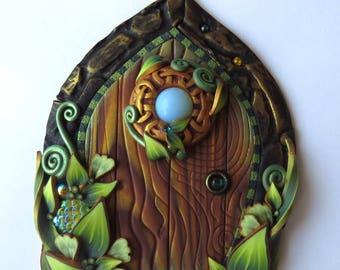 Fairy Door with Opalite Orb Polymer Clay Miniature Fairy Garden Decor