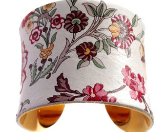 Pale Blue Floral Print Leather Cuff Bracelet - by UNEARTHED