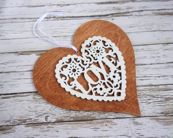 Valentine gift, 5th wedding (wood) anniversary gift, rustic heart, wedding heart, romantic gift, laser cut heart ornament, wedding decor