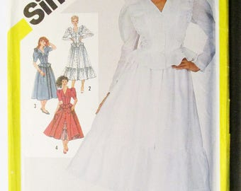 1980s Vintage Sewing Pattern Simplicity 6017 Misses Fitted Two-Piece Dress Pattern Size 8 Uncut
