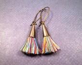 Tassel Earrings, Color Mix Cotton Tassels, Brass Dangle Earrings, FREE Shipping U.S.