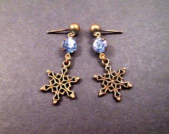 Snowflake Earrings, Blue Glass Rhinestones, Brass Dangle Post Earrings, FREE Shipping U.S.