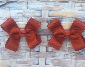 Rust Hair Bows,Pigtail Hair Bows,Baby Hair Bows,Toddler Hair Bows,Non Slip Hair Bows,3 Inch Hair Bows