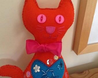 Felt Cat   Orange Felt Cat