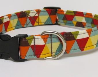 Geometric Triangles Printed Handmade Dog Collar in Neutrals