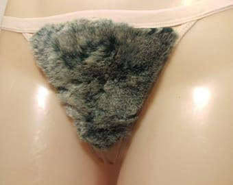 Size Large Merkin Thong Back Gray Chinchilla Faux Fur Vagina Pubic Hair Wig Merkin20