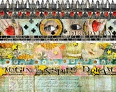 ART TEA LIFE Imagine Dream Inspire Strips Borders Collage Sheet Digital File band trim tag invitation journal decoupage scrapbook download